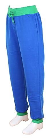 Pantalon Sport Jogging Femme Bi-color Patalon Gym Sweatpant en bleu roy / vert | Taille: XXL