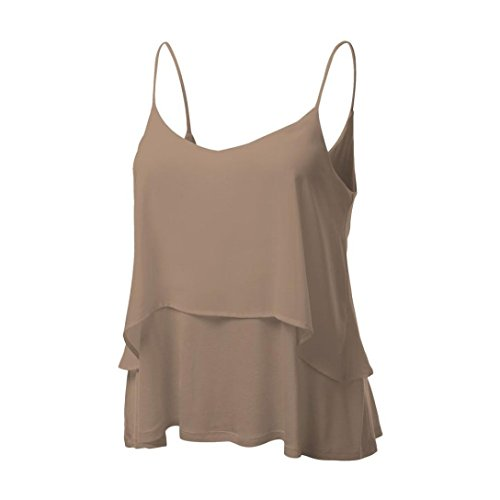 MRULIC Damen T-Shirt Armelloses Top Frauen Verstellbare Schultergurte Runden Hals Leibchen Crop Top(C-Khaki,EU-44/CN-2XL