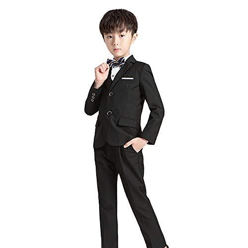 ZFF Jungen Hochzeitsanzug Slim Fit Kinderanzüge 5Pc Prom Anzug, Für Einsätze bei Hochzeiten, Beerdigungen, Taufen,Schwarz,110