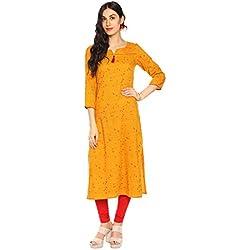 Amayra Women Rayon Straight Kurti(Mustard,XXL)
