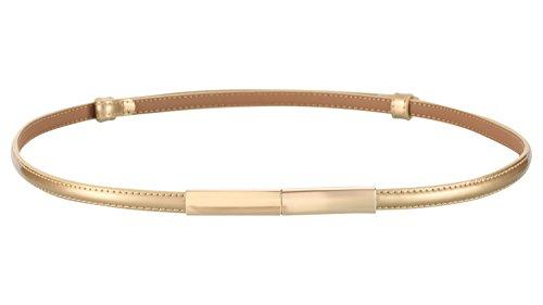 Motase Cinturón de Vestir Mujer Cinturón de Cuero Cintura Ajustada con Dorado Hebilla L Dorado