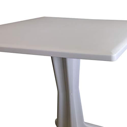 3tlg. Bistrogarnitur Bistrotisch Gartentisch Ponente 70x70cm + 2X Klappsessel Yuma 5-Fach verstellbar Kunststoff – Anthrazit/Weiß