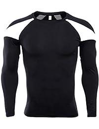 QinMM Camiseta Deportiva Moldeando de Secado rápido para Hombre Fitness Body Culturismo de Manga Larga Tops