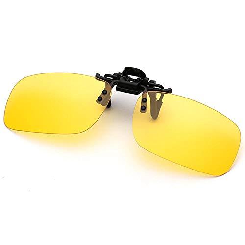 Polarisierte randlose Gläser AOLVO Metall Flip up Clip on Sunglasses Leicht Gewichts Außen Fahren Angeln Sonnenbrillen für Männer und Frauen Unisex Brillenträger (Gelb)
