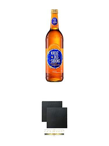 Kreuz des Südens Aprikosen Likör verfeinert mit Rum 0,7 Liter + Schiefer Glasuntersetzer eckig ca. 9,5 cm Ø 2 Stück - Aprikosen-likör