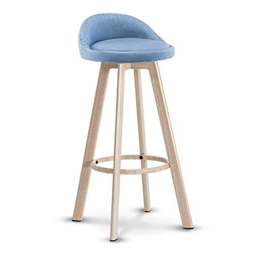 Eisenrahmen Barhocker Holzimitat Design | Leinenschwamm gepolsterter Sitz | Moderne Hochstuhl Küche Restaurant Bar Hocker (4 Farben erhältlich) -