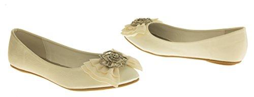 Occasions Rosie Damen Satin Ballett Flach Brautschuhe Elfenbein EU 36 - 6