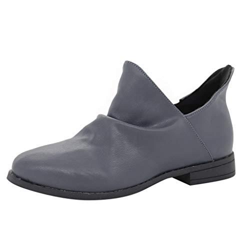 YU'TING ☀‿☀ Stivaletti Donna con Tacco Stivali Invernale Pelle Bassi Ankle Boots Chelsea 5Cm Scarpe Elegante Comode Nero, Grigio 35-43