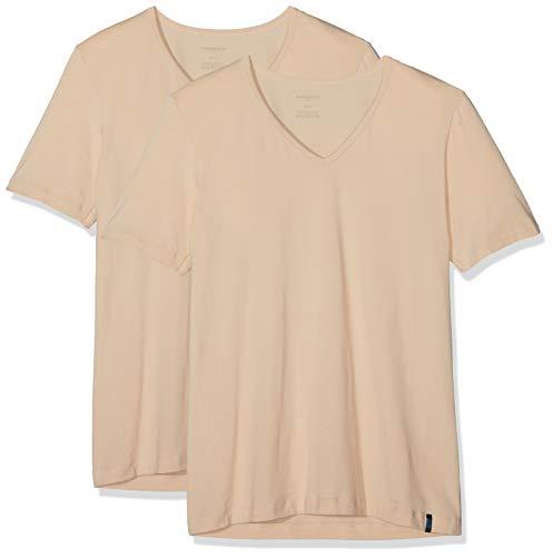 Schiesser Herren 95/5 Shirt (2er Pack) Unterhemd, Beige (Haut 407), X-Large (Herstellergröße: 007) (erPack 2 -