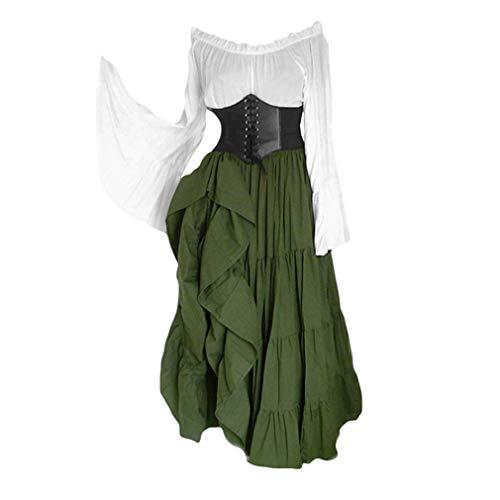 Kunfang Damen Mittelalterliches Kostüm Retro Renaissance Maxikleid Weg Schulter Glockenärmel Langes Kleid Empire Taille Großer Saum Kleid Halloween Cosplay Kostüm -