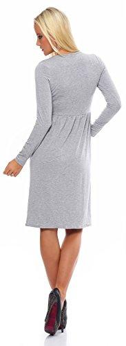 Mississhop Damen Kleid Minikleid Tunika Knielang 36 38 40 42 Grau