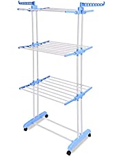 Amazon Brand - Solimo Stainless Steel Clothes Drying Stand (Foldable, Blue)