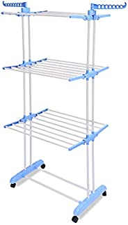 Amazon Brand - Solimo Steel Clothes Drying Stand (Foldable, Blue)