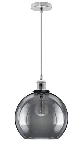 Industrial Vintage Grey Smoke Glass Globe Pendant Light Round Ceiling Lamp Shade Antique Chrome Holder M0097F