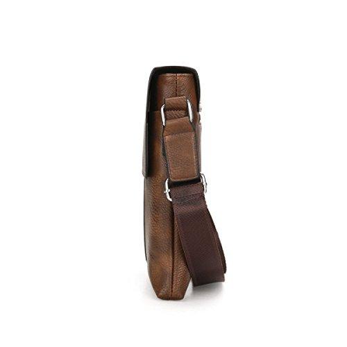 Männer Schultertasche PU Messenger Bag Neutral Retro Einfache Business Bag Brown