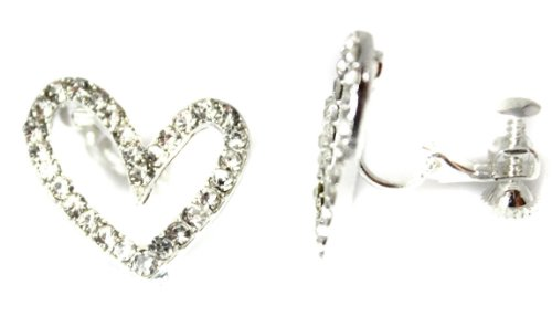 Classic CZ Crystal Heart Girls Womans Screw Back CLIP ON Earrings Studs