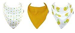 Muslinz 3pk Baby Muslin Dribble Bibs. 2 Layer Muslin Cotton Bandana Bib (Yellow Combo)