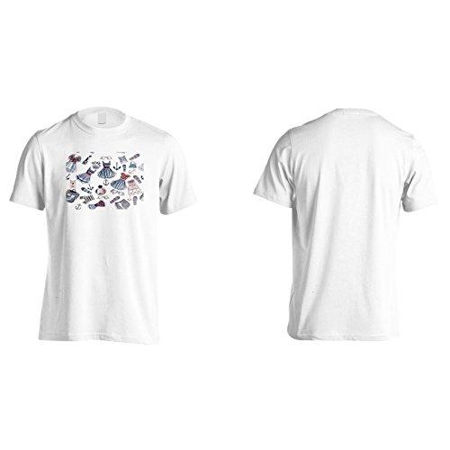 Elementi di moda signore novità divertente Uomo T-shirt a756m White