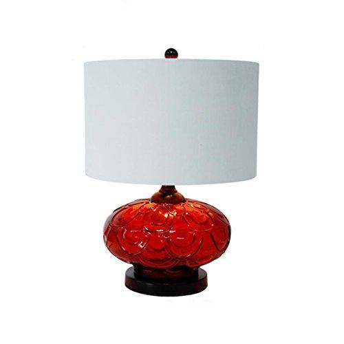 FJH Moderne Minimaliste Rouge Rose Verre Chambre Chevet Table Lampe Romantique Salon Décoratif Table Lampe E27 (Color : B)