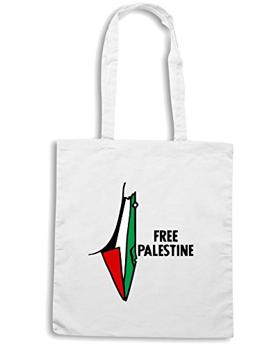 T-Shirtshock - Borsa Shopping TM0554 free palestine Bianco