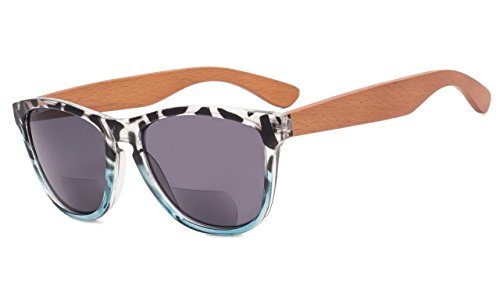 Eyekepper Bifokale Sonnenbrille mit Holz Tempel für Frauen +1.00 Stärke Lesen Sonnenbrillen mit Holz Tempel(Leopard-Blau Rahmen)