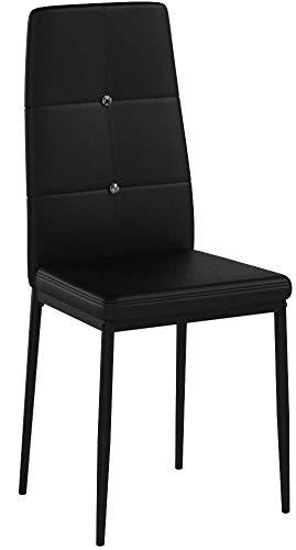 Albatros 3094 Diamond Set de 4 sillas de Comedor, Negro, SGS Tested