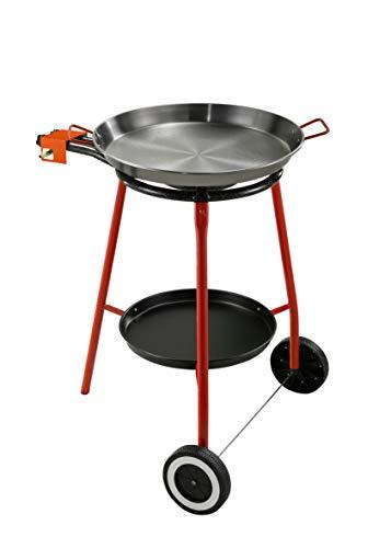 Kit für Paella, Komplett-Set für die Küche im Freien, besonders geeignet für die Zubereitung von Paella. Das Kit enthält: Gaskocher mit Gasversorgung (LPG) mit Zwei Brennern (unabhängig), Fuß aus Stahl lackiert mit drei Füßen, Pfanne aus Eisen