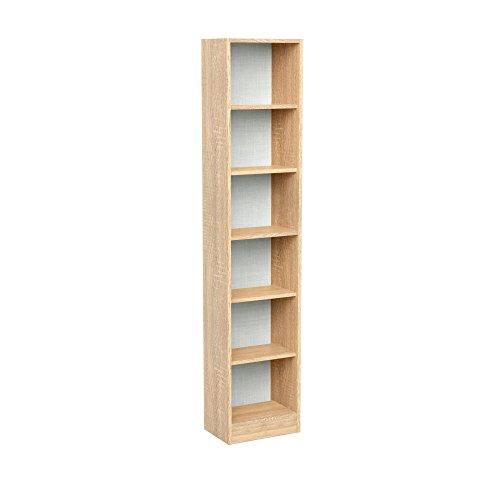 INFINIKIT Haven Bücherregal, schmal -  goldene Eiche (Schmal Bücherregal 6 Regal)