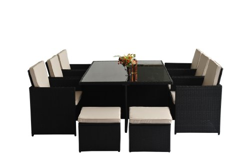 outsunny 11pc rattan outdoor garden furniture aluminium patio set cube. Black Bedroom Furniture Sets. Home Design Ideas