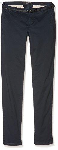 Maison Scotch Medium Weight Pima Cotton Stretch Chino, Sold with Belt, Pantaloni Donna, Blu (Night 58), 42^44