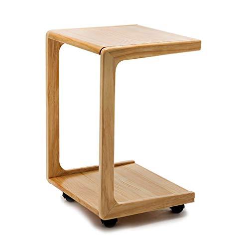 Tables basses Chariot à thé latérale Mobile avec canapé à Roulette Petite Table d'appoint Table de lit en Bois Massif (Color : Brown, Size : 39 * 34.5 * 58cm)