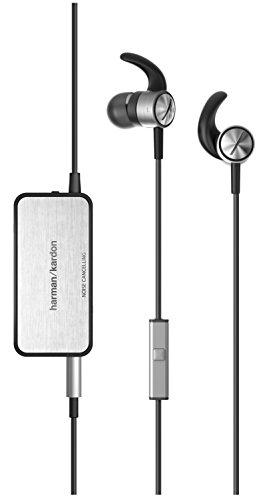 Harman/Kardon SOHO II NC Intrauriculares con cancelación activa de ruido, incluyen mando de control de 1 botón y micrófono, colores negro y plateado width=