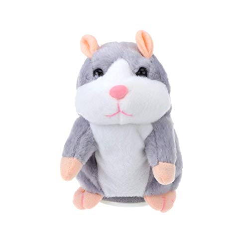 BRIDA® Talking Hamster Toy Mimicry Mouse Plush Toy Nodding Head Electronic Pet Educational Toy for Kids (Grey)