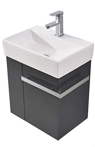 Badmöbel-Set Compact 500 für Gäste-WC - Anthrazit matt, Ablaufgarnitur/Pop-up:Mit Ablaufgarnitur