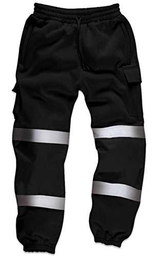 Qaswa Hi Viz Herren Arbeitshose mit reflektierenden fluoreszierenden Jogginghosen Sicherheit Fleece Arbeitnehmer - Maler-stiefel