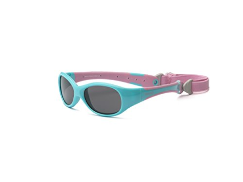 Real Kids Shades Explorer Flex Fit Removable Band with Polycarbonate/Polarized Sunglasses (Lens 0 Plus, Aqua/Pink)