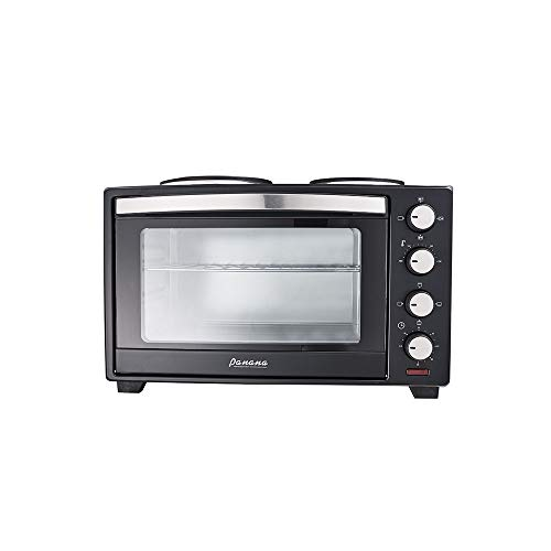 OLFFF 30L Electric Mini Convection Oven with Grill, Hob and Tray, 600W + 1000W Double Hob Hotplate - Black