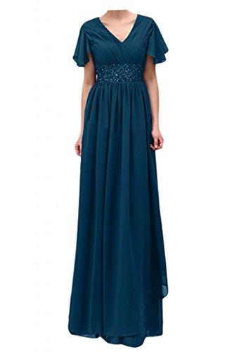 TOSKANA BRAUT Chic Perle Chiffon Abendkleider kurze Aermel Lang Brautmutter Party Ballkleider Tinte Blau