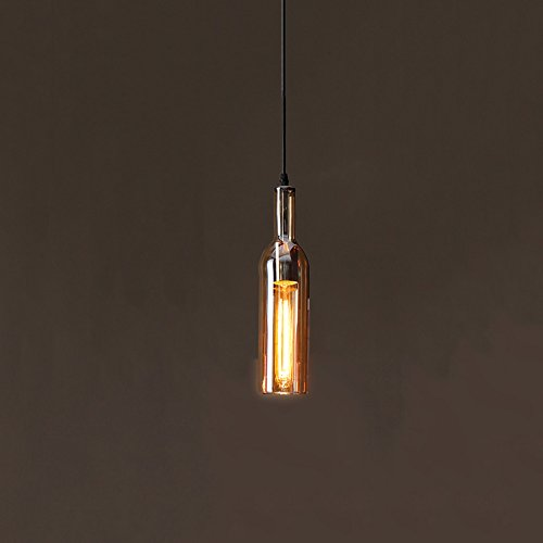 Mini verre pendentif lampe, nordique unique tête LED petit plafonnier post moderne restaurant magasin de vêtements bar lustre créative bière en bouteille décoration lustres, bleu, brun, ambre, grand rouge, vin rouge ( Color : Brown )