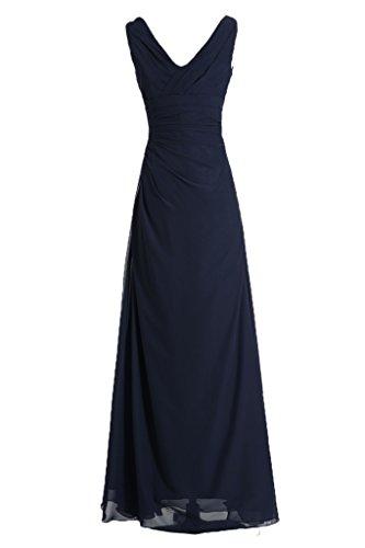 Gorgeous Bride Modisch V-Ausschnitt Traeger Empire Chiffon Lang Abendkleider Abendmode Ballkleider Dunkelblau