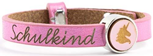 band Leder Größenverstellbar, Geschenk Armband Einschulung Schultüte Inhalt, Schulanfang Geschenk, Farbe:Pink ()