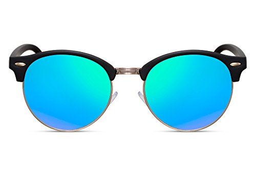 Cheapass Sonnenbrille Verspiegelt Rund-e Clubmaster Schwarz Blau UV-400 Designer-Brille Damen Herren - Blaue Gläser