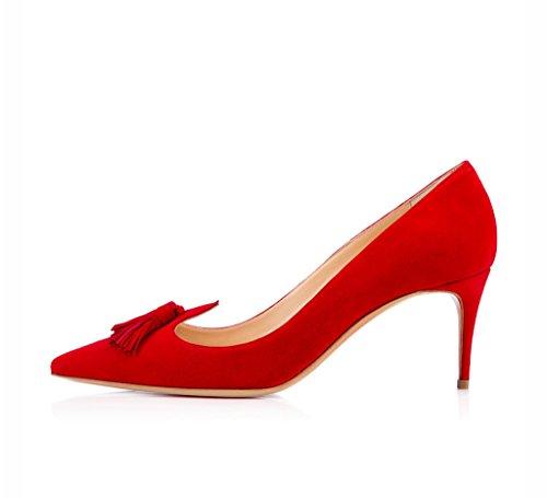 EDEFS Damenschuhe Faschion Jwalior 65mm Gesäumt Spitzschuh Hochzeit Mid Heel Pumps Schuhe Rot