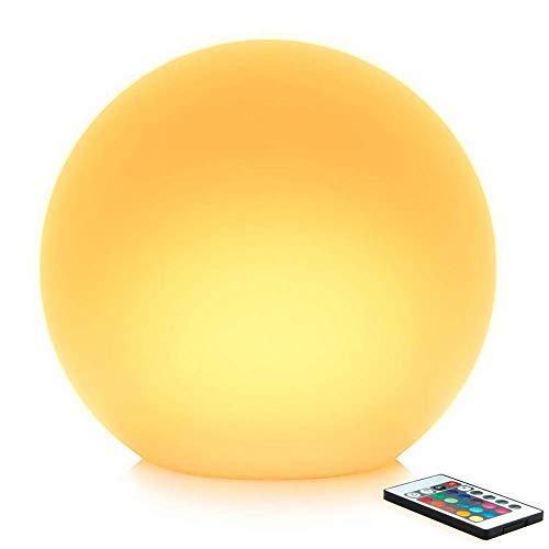 40cm Lampe Boule Lumineuse LED pour Extérieur et Intérieur, Lampe Ronde Multicolore avec Télécommande, 16 RGB Couleurs Réglable et 4 Modes de Changeante Couleur pour Jardin Partie Maison Décoration