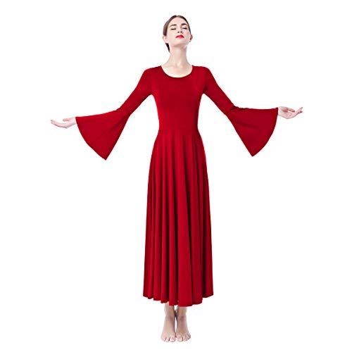 OBEEII Damen Liturgisch Tanzkleid Lange Ärmel Elastisch Tanzstrumpfhose Frauen Elegant Kirche Worship Tanzkleidung Ballett Jazz Lateinischer Tanz Kirche Chor Beten Gebet Kostüm Rot ()