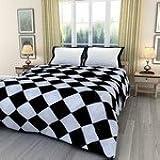 eCraftIndia Printed 220 TC Polycotton Single Blanket - Geometric, Black and White