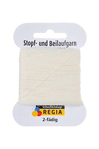 REGIA 2-fädig Uni 9801278-00600 weiß Handstrickgarn, Sockengarn, Beilaufgarn, 5g Kärtchen