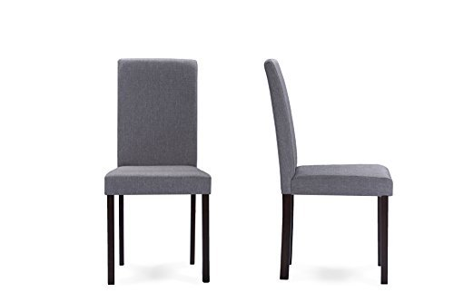 Baxton Studio Andrew Contemporary Espresso Wood and Grey Fabric Dining Chairs by Baxton Studio