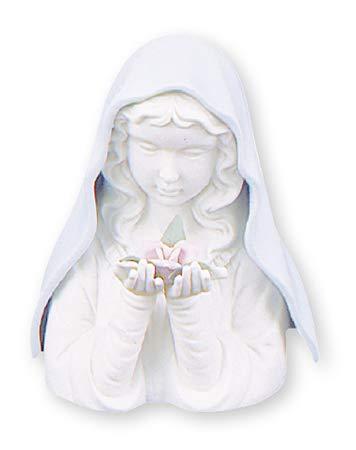 Decocentrum Virgen María de cerámica Blanca Porcelana. Tamaño: Estatua Religiosa católica de 14 cm. Incluye iluminación LED.