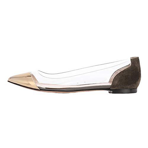 Damen Schuhe,TWBB Plus Größe Flache Schuhe Flaches Boot Arbeiten Spitz Weiche Schuhe